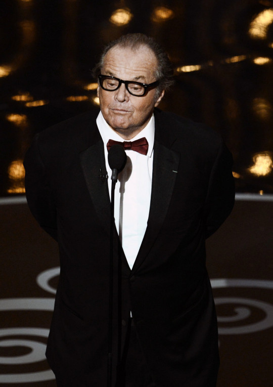 HOLLYWOOD, CA - FEBRUARY 24: Actor Jack Nicholson presents the Best Picture award onstage during the Oscars held at the Dolby Theatre on February 24, 2013 in Hollywood, California. (Photo by Kevin Winter/Getty Images)