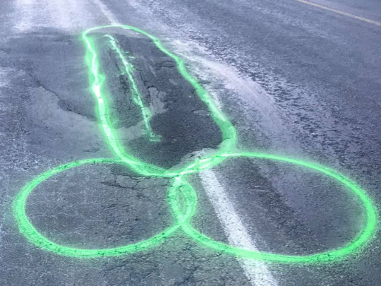 New Zealander is drawing penises on roads to highlight potholes Pictures: Geoff Upson Road Safety Campaigner/Facebook
