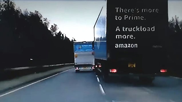 Amazon truck driver tries to ram lorry off the road
