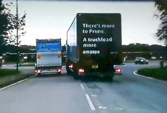 Amazon lorry on the wrong side of the road. Adrian Kowalski has lashed out at Derbyshire Police after he found out the Amazon driver who tried to ram him off the road has been let off without any jail time.