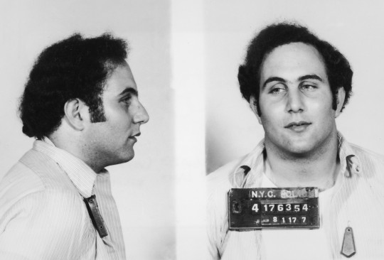 Police mug shot showing the front view and profile of convicted New York City serial killer David Berkowitz, known as the Son of Sam