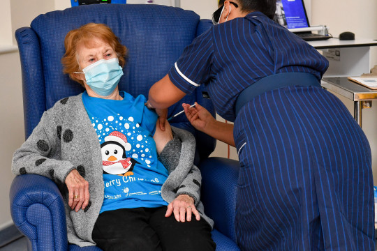 In December Margaret Keenan, 90, became the first patient in the UK to receive the Pfizer/BioNtech jab (Picture: Jacob King - Pool / Getty Images)
