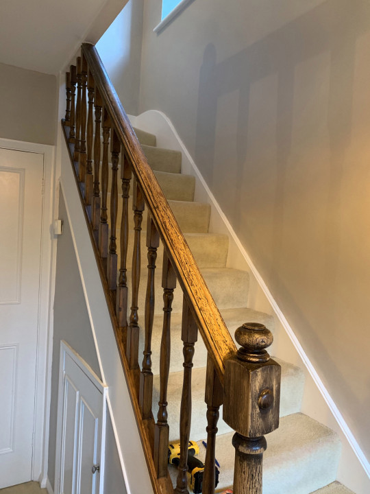 Lucy Tallyn's very beige staircase before she decorated it