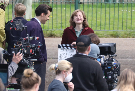 Harry Styles and Emma Corrin filming My Policeman