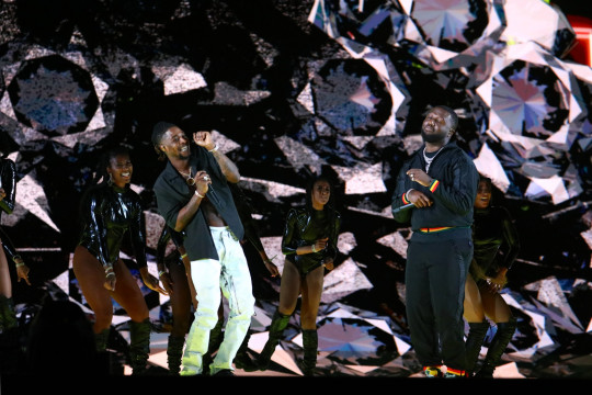 Headie One and Young T & Bugsey performing at Brit Awards 2021