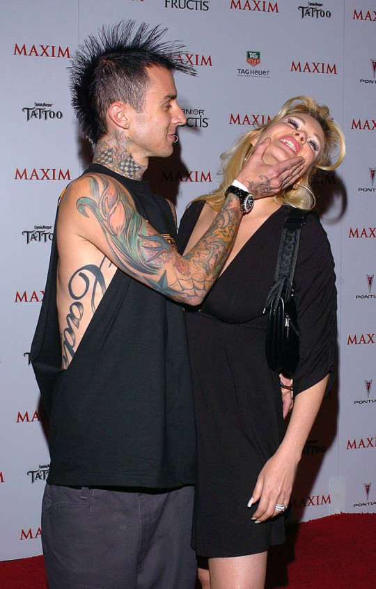 Travis Barker and Shanna Moakler during Maxim Magazine's Hot 100 - Arrivals at Montmartre Lounge in Hollywood, California, United States. (Photo by Mark Sullivan/WireImage)