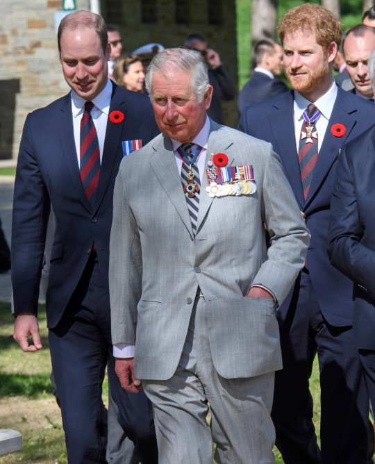 Mandatory Credit: Photo by Tim Rooke/REX (8587979bj) Prince Charles, Prince William and Prince Harry visit the tunnel and trenches at Vimy Memorial Park 100th Anniversary of The Battle of Vimy Ridge, France - 09 Apr 2017