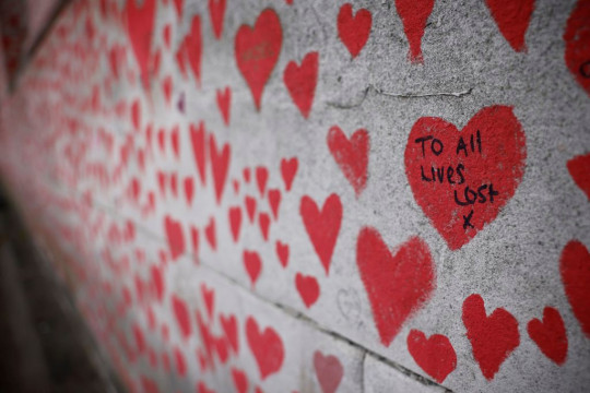 Hearts and messages on the National Covid Memorial Wall