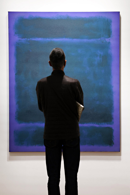 NEW YORK, NEW YORK - MAY 07: 'Untitled' by Mark Rothko is on display during a preview of the upcoming 20th Century Evening Sale at Christie's on May 07, 2021 in New York City. (Photo by Cindy Ord/Getty Images)