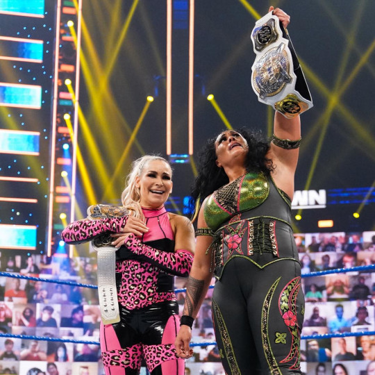 WWE superstars Natalya and Tamina win the Women's Tag Team Championships on SmackDown