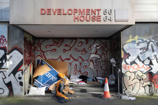 Cardboard boxes used for sheltering in and bedding to sleep under by homeless rough sleeper.  The Government has announced £203 million to tackle rough sleeping.