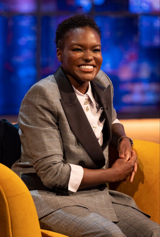 STRICT EMBARGO - NO USE BEFORE 00:01 BST FRIDAY 14TH MAY 2021 - Mandatory Credit: Brian J Ritchie/Hotsauce Editorial Use Only Mandatory Credit: Photo by Brian J Ritchie/Hotsauce/Shutterstock (11901409bf) Nicola Adams 'The Jonathan Ross Show' TV show, Series 17, Episode 6, London, UK - 15 May 2021 Sir Tom Jones on no.1 Album at 80, Why He'll Never Retire, and Boxing with Muhammad Ali. Paloma Faith on Motherhood, Her Latest Music Video and Her Bid to be on Strictly. Dave Bautista on Guardians of the Galaxy Exit, Thor Rumours, His Anxiety and Why He's Happy to Use a Stunt Double. Nicola Adams on Her Eye Injury, Her Post-Boxing Diet Struggles, and That Strictly Exit . James Acaster Reveals Truth Behind Alligator Costume, Being Escorted From His Own Gig and Discusses Infamous Bake Off Turn.