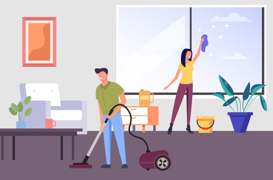 Two people man and woman characters cleaning living room apartment together. House work concept. Vector flat graphic design cartoon illustration