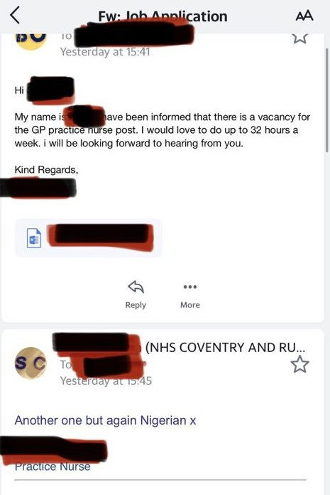 NHS accused of racism after nurse who worked through Covid applies for new job