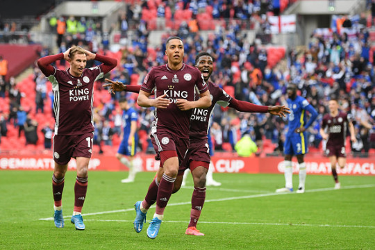 Youri Tielemans celebrates his goal for Leicester against Chelsea in the FA Cup final