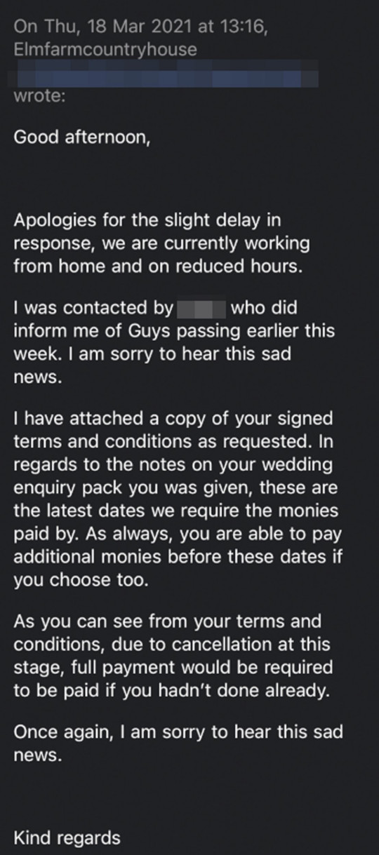 MERCURY PRESS - (PICTURED Emails from Elm Farm Country House) A bride who was left devastated by the death of her 'soulmate' is left fighting for a ??4k refund from their wedding venue. Fiona Boswell, 50, tragically lost her groom, Guy Boswell, 50, in March to Cardiac Amyloidosis, which causes heart failure, after a battle with Non Hodgkins Lymphoma, a type of cancer. The pair, from Norwich, Norfolk, were due to be celebrate in a lavish ceremony at Elm Farm Country House in Horsham St Faith, in Norfolk, in July in front of 100 guests. Insurance underwriter Fiona, was forced to cancel the ??4,100 event when she lost Guy, a tiler, seven months after he was diagnosed with the disease. SEE MERCURY PRESS