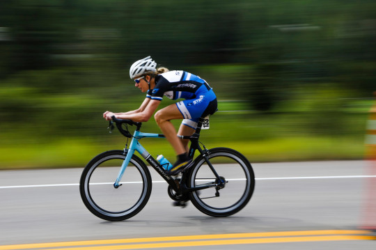 Gwen Inglis makes her way along a road during the women's time trial for the Colorado Classic cycling race Friday, Aug. 17, 2018, in Vail, Colo. (Chris Dillmann/Vail Daily via AP)