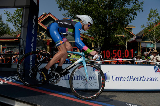 BRECKENRIDGE, CO - AUGUST 21: Pro racer Gwen Inglis, was first to head down the start ramp for the inaugural Women's USA Pro Challenge time trial race August 21, 2015. (Photo by Andy Cross/The Denver Post via Getty Images)