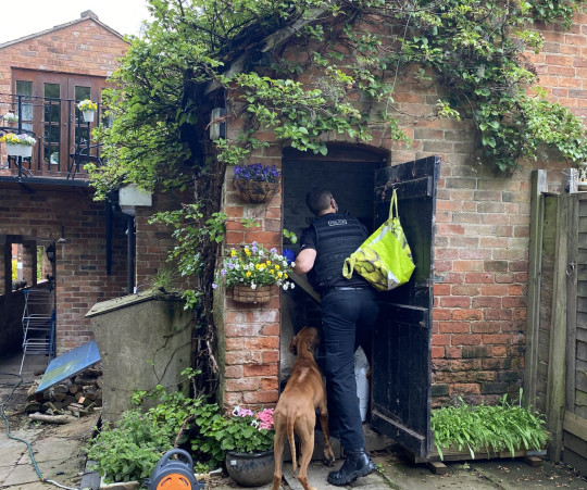 Police officer looking in a shed.  Pro-Palestine activists, who were arrested for occupying the roof of the Israeli-owned drone factory in Leicestershire, Elbit, 'have had their homes raided and their books seized by police'.