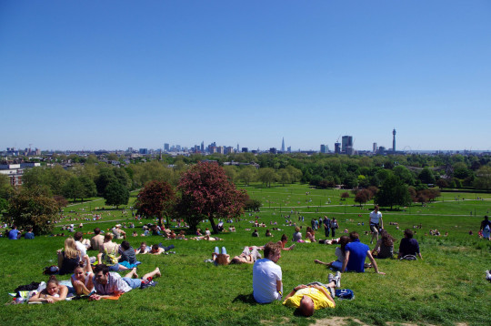 People enjoying a warm summer afternoon in the park at Primrose Hill, with the skyline of central London on the horizon. London, England, United Kingdom.