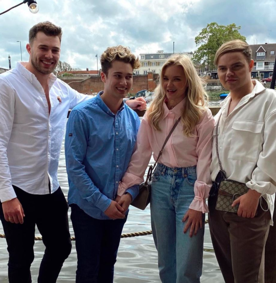 AJ Pritchard and Abbie Quinnen with Curtis Pritchard and Callum Barrott