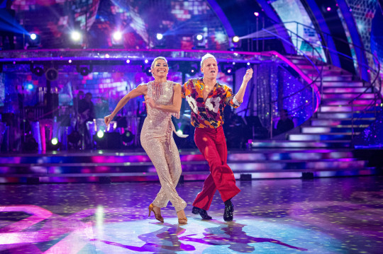 Embargoed to 2035 Saturday December 12 For use in UK, Ireland or Benelux countries only Undated BBC handout photo of Karen Hauer and Jamie Laing during the dress show for Saturday's programme in the BBC1 dancing contest, Strictly Come Dancing. PA Photo. Issue date: Saturday December 12, 2020. See PA story SHOWBIZ Strictly. Photo credit should read: Guy Levy/BBC/PA Wire NOTE TO EDITORS: Not for use more than 21 days after issue. You may use this picture without charge only for the purpose of publicising or reporting on current BBC programming, personnel or other BBC output or activity within 21 days of issue. Any use after that time MUST be cleared through BBC Picture Publicity. Please credit the image to the BBC and any named photographer or independent programme maker, as described in the caption.