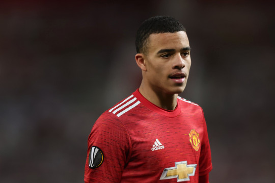 MANCHESTER, ENGLAND - MARCH 11: Mason Greenwood of Manchester United during the UEFA Europa League Round of 16 First Leg match between Manchester United and A.C. Milan at Old Trafford on March 11, 2021 in Manchester, United Kingdom. Sporting stadiums around the UK remain under strict restrictions due to the Coronavirus Pandemic as Government social distancing laws prohibit fans inside venues resulting in games being played behind closed doors. (Photo by Matthew Ashton - AMA/Getty Images)