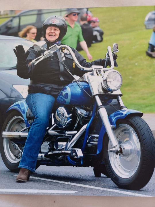 Julia Stevenson out on her Harley (Collect/PA Real Life)