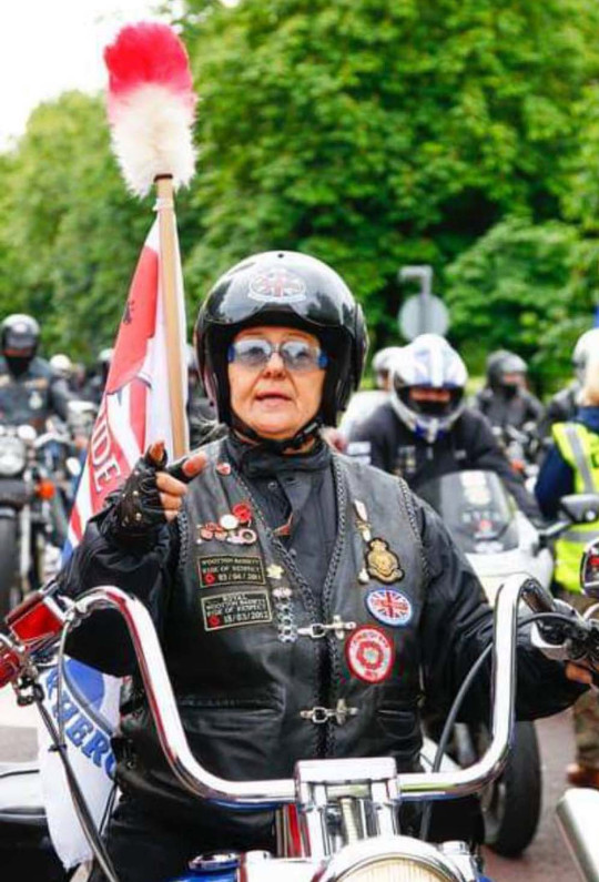 Julia Stevenson in her leathers (Collect/PA Real Life)