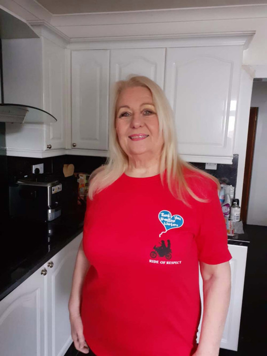 Julia Stevenson proudly wears her Ride of Respect T-shirt(Collect/PA Real Life)