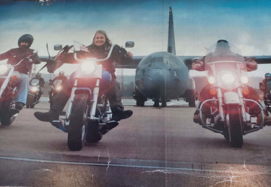 Julia Stevenson in front of a Hercules at a Ride of Respect biker event (Collect/PA Real Life)
