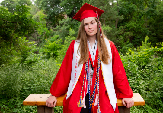 Paxton Smith, Lake Highlands High School valedictorian, poses for a photo