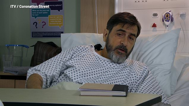 Corrie: Carla says goodbye to Peter as he goes for his op