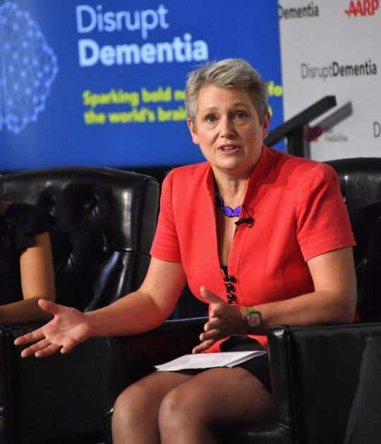 NEW YORK, NY - JUNE 25: Kate Bingham speaks on a panel during a brain health event hosted by AARP featuring Katie Couric, Jane Krakowski and AARP CEO Jo Ann Jenkins to #DisruptDementia at Neuehouse on June 25, 2018 in New York City. (Photo by Mike Coppola/Getty Images for AARP)