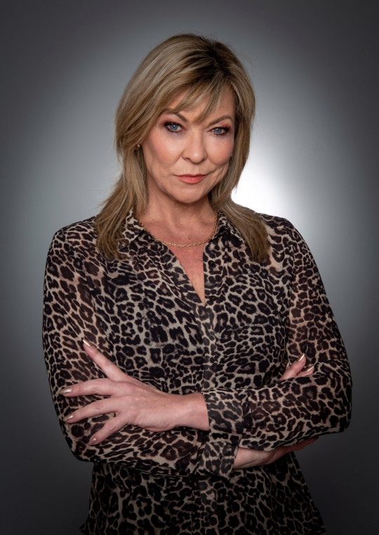 Claire King as Kim Tate in Emmerdale