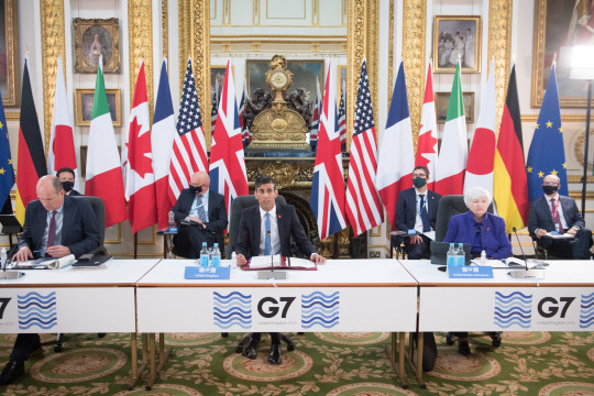 Chancellor of the Exchequer Rishi Sunak at a meeting of finance ministers from across the G7 nations