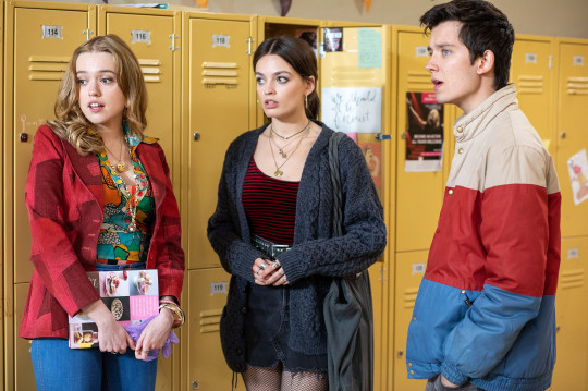 Aimee Lou Wood, Emma Mackey and Asa Butterfield in Sex Education