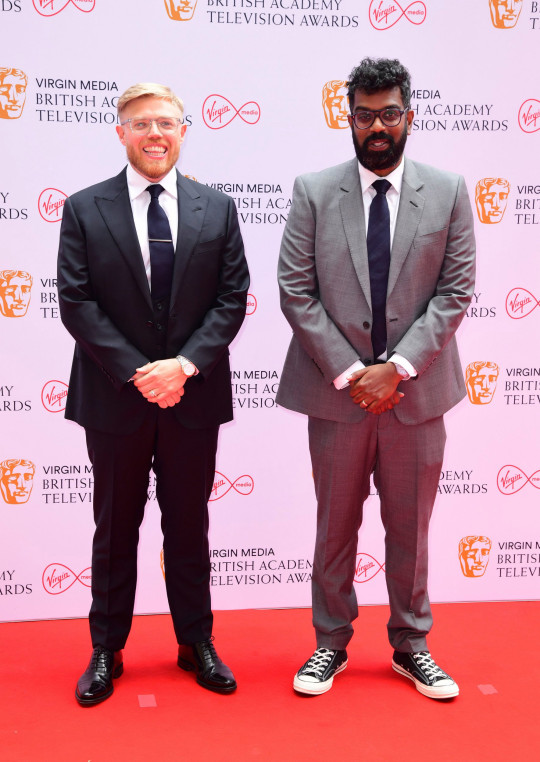 Rob Beckett and Romesh Ranganathan arrives for the Virgin Media BAFTA TV awards at the TV Centre, Wood Lane, London. Picture date: Sunday June 6, 2021. PA Photo. See PA story SHOWBIZ Bafta. Photo credit should read: Ian West/PA Wire