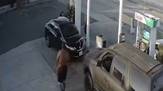 The man got out of his car and approached the victim in a seemingly calm manor, before ploughing into her with a succession of punches