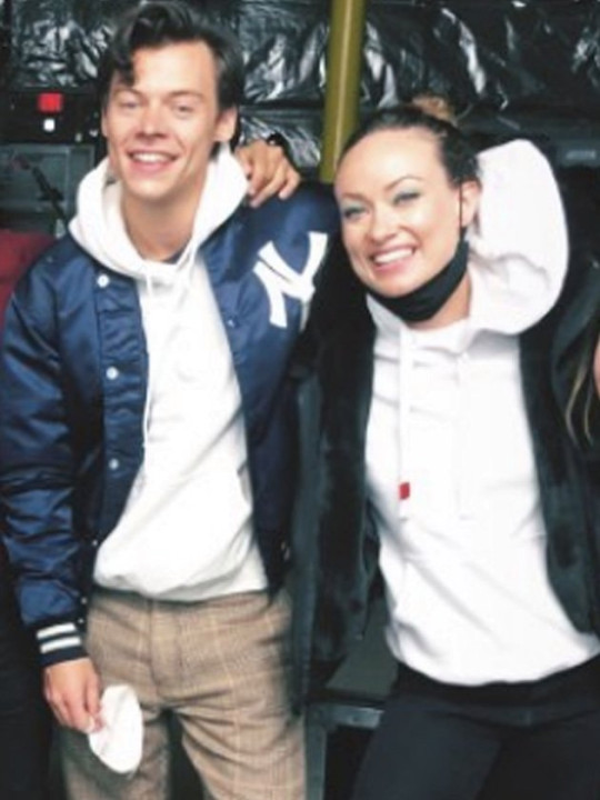 Harry Styles and Olivia Wilde pose together as filming wraps on Don't Worry Darling