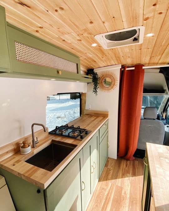 The kitchen area in the couple's van