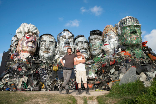 EDITORIAL USE ONLY Mount Recyclemore: The E7, which has been created out of e-waste, in the likeness of the G7 leaders and in the style of Mount Rushmore by British artist Joe Rush for tech recommerce expert musicMagpie, is unveiled on Sandy Acres Beach in Cornwall ahead of the G7 Summit starting later this week. Picture date: Tuesday June 8, 2021. PA Photo. The re-commerce expert is backing WasteAid's educational programme to tackle e-waste by donating money for each piece of tech sold to the site throughout June. Research has revealed that the G7 nations alone produce almost 16 million tonnes of e-waste a year, with the US (6.9m), Japan (2.6m), Germany (1.6m) and UK (1.6m) being the worst o???enders. According to the UN, the current 53 million tonnes of e-waste generated annually worldwide will more than double by 2050, making it the fastest growing waste stream in the world. Photo credit should read: Adam Gasson/PA Wire