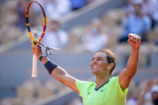 Rafael Nadal of Spain celebrates his victory against Diego Schwartzman of Argentina on Court Philippe-Chatrier during the quarter finals of the singles competition at the 2021 French Open Tennis Tournament at Roland Garros on June 9th 2021 in Paris, France.