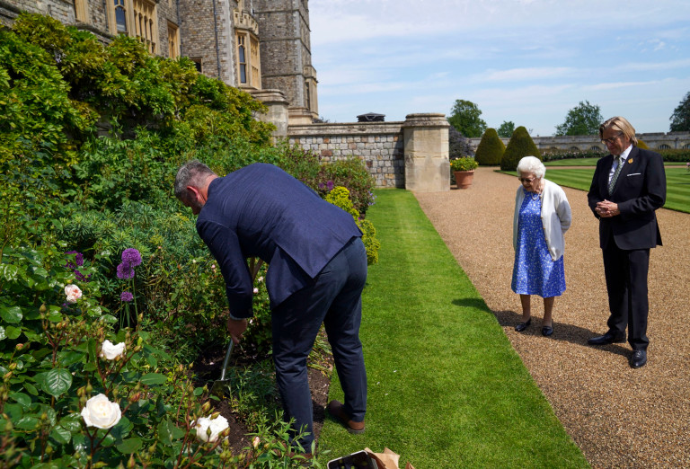 Queen Elizabeth II watches as Duke of Edinburgh rose is planted in a border in the gardens of Windsor Castle, after it was given to her by Keith Weed, President of the Royal Horticultural Society. The newly bred deep pink commemorative rose from Harkness Roses has officially been named in memory of the Duke of Edinburgh. A royalty from the sale of each rose will go to The Duke of Edinburgh's Award Living Legacy Fund which will give more young people the opportunity to take part in the Duke of Edinburgh Award. Picture date: Wednesday June 2, 2021. The Duke, who died in April this year, would have celebrated his 100th birthday on June 10th. PA Photo. See PA story ROYAL Philip. Photo credit should read: Steve Parsons/PA Wire