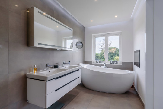 bathroom in fugelmere grange house, which was inspired by aircraft