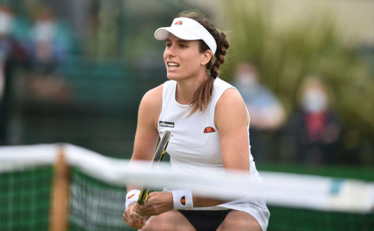 Johanna Konta of Great Britain looks on as she plays against Alison Van Uytvanck of Belgium during the women's quarter finals singles match on day six at Nottingham Tennis Centre on June 11, 2021 in Nottingham, England.