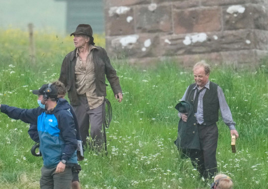 Harrison Ford and Toby Jones photographed on set during filming of the new Indiana Jones movie