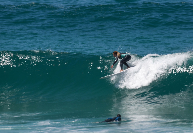 Surfers at Fistral in Newquay yesterday