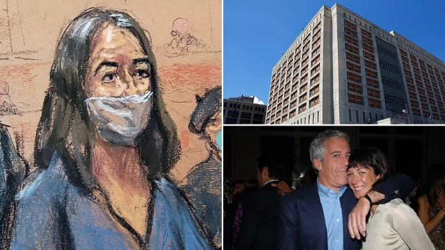 A lawyer for Ghislaine Maxwell (left), the alleged madam of the late Jeffrey Epstein (bottom right) filed a complaint in court alleging her jail cel at the Metropolitan Detention Center in Brooklyn (top right) had vermin droppings and raw sewage
