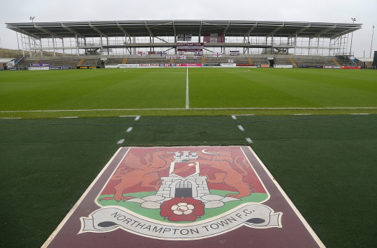 NORTHAMPTON, ENGLAND - OCTOBER 24: Banners are seen on the unfinished East Stand during the Sky Bet League Two match between Northampton Town and Stevenage at Sixfields Stadium on October 24, 2015 in Northampton, England. (Photo by Pete Norton/Getty Images)